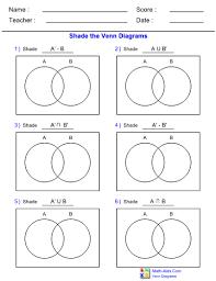 Venn Diagram Sets Worksheet Venn Diagram Complement Standard Two Set Worksheet