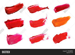 collage of decorative cosmetics color brush lipstick strokes on white background beauty and makeup concept