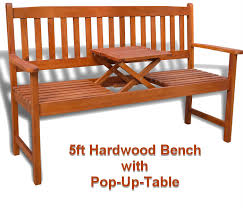 5ft hardwood garden bench with pop up table