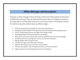 Office Manager Job Description For Resume] Office Manager Job .