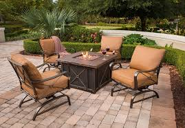 Hanover Summer Nights 5pc Outdoor Fire Pit Summrnght5pc Gas Fire Pit Table And Chairs Set