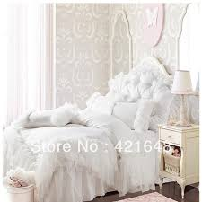 romantic white pink falbala ruffle lace bedding set solid color princess duvet cover
