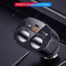 <b>New 80W 12/24V QC3.0</b> Dual USB Car Charger Cigarette Lighter ...