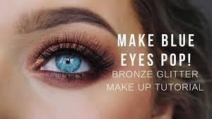 make blue eyes pop bronze glitter make up tutorial rachel leary you