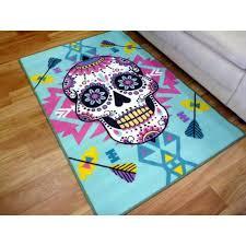 childrens area floor rugs sugar skull turquoise 100x150cm playmat