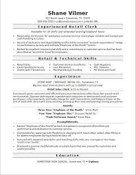 Retail Clerk Sample Resume