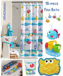 curtains ideas staggering kids shower curtain hooks image inspirations s l1000 18pc somethings fishy fish bath set rug tub pottery