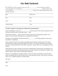 Vehicle Sale Purchase Agreement Car Template Sales Contract