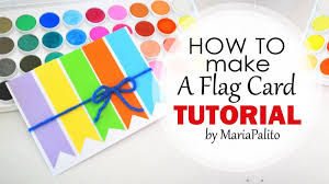 diy how to make a colorful flag card tutorial