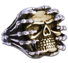 heavy metal ring biker jewelry with skull from sterling silver and br evilrings