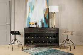 Bridgewater Console Table with Removable Wine Rack Brushed Tan Wood