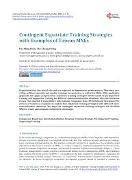 Pdf Contingent Expatriate Training Strategies With Examples Of