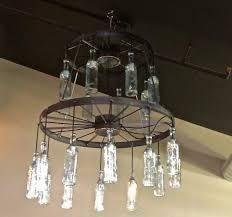 antique style wooden wagon wheel chandelier with vintage lantern