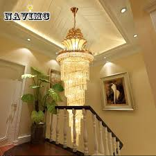 gold imperial k9 crystal chandelier for hotel hall living room staircase hanging pendant lamp european