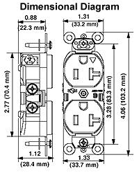 leviton 5462 ig 20 amp 250 volt nema 6 20r 2p 3w slim body dimensional drawing · wiring diagram