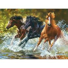 frameless running water horse animals diy painting by numbers wall art picture hand painted for home