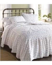 white chenille bedspread. Plain White Flourish Skirted Chenille Bedspread King In White Inside