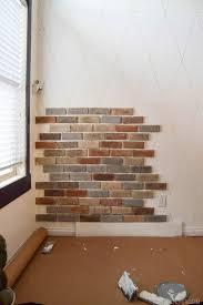 diy fake brick wall with brick veneer