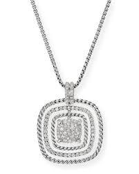david yurmanclaine silver diamond pave pendant necklace