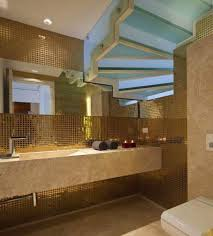 contemporary bathroom with recessed lighting