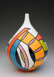Cliff House Studio and Gallery — Pamela Summers Polychrome   Pottery  painting designs, Pottery painting, Glass bottles art