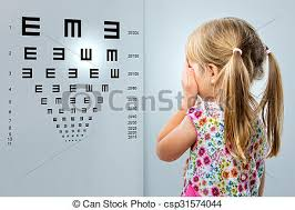 Child Eye Test Chart Little Girl Looking At Vision Test Chart