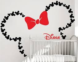 mickey mouse ears with bow personalized baby name minnie mouse wall decals by graphicsmesh large