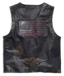 mens iron distressed slim fit leather vest