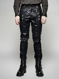costume steampunk pants black men leather pants retro leggings no 2