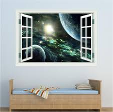 space window planets wall art sticker decal
