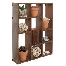15 inch wall mount 9 slot rustic wood floating shelves