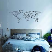 geo world map wall sticker blue wall