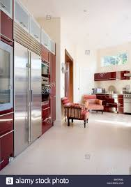 modern country kitchens. Cream Flooring In Large Modern Country Kitchen With Stainless Steel Fridge Freezer Kitchens N
