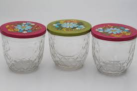 ball quilted crystal jelly jars vintage. vintage ball quilted crystal glass jelly jars w/ retro flower print lids