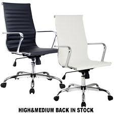modern ergonomic office chair pu leather highu0026med back executive computer desk office chair white leather74 white