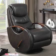details about derrick wood arm leather reclining chair 90998