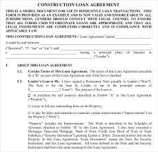 Awesome Construction Loan Contract Template Free 26 Great Loan ...