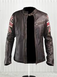men s biker uk flag leather jacket