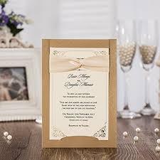 50pcs Wedding Invitations Jofanza Laser Cut Wedding Invitations Ribbon Set Of 50pcs Invitation Cards With Kraft Insert For Engagement Baby Shower