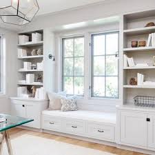 home office built ins. love the built in cabinets coupled w window seat home office ins