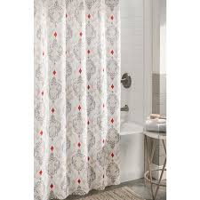 allen roth polyester grey patterned shower curtain