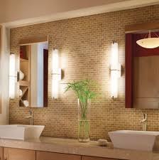 bathroom remarkable bathroom lighting ideas. Bathroom, Captivating Metro Bathroom Lighting Design Brick Wall Concept With Indoor Plants Decor: Remarkable Ideas N