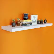 Welland 48 Floating Wall Shelf With Led Lights White 24 Inch Length Grande Floating Shelves Deeper Than Others