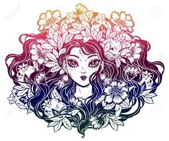 Girl Portrait Decorative Crown Of Wild Flowers Leaves And Pomegranate