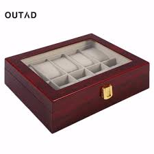 practical 10 grids retro red wooden watch box display case durable jewelry collection storage watch organizer box watches case watch case from zeipt