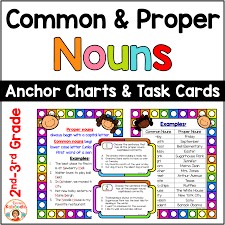 3rd Grade Anchor Charts Common And Proper Nouns Anchor Charts And Task Cards