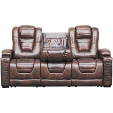 picture of big chief power reclining sofa w drop table and adjustable headrest