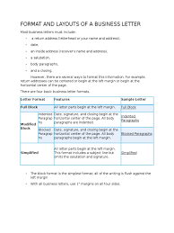 Format And Layouts Of A Business Letter Paragraph Written