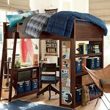 Teen Loft Bed With Desk With Thick Duvet Design