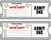 Printable Movie Ticket Theme Party Invitations Templates